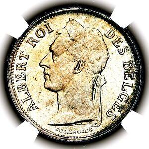 1926 Albert I Belgium Belgian Congo French Fifty Centimes 50C KM 22 NGC MS64