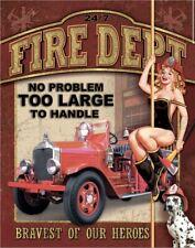 "Vintage Replica Tin Metal Sign FIRE DEPARTMENT ""No Problem Too Large"" 40x31cm"