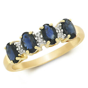 9ct Yellow Gold 0.81 CTW Sapphire and Diamond Eternity Ring, Sizes J to Q (258)