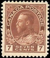Mint H Canada 7c 1911-25 F-VF Scott #114 King George V Admiral Issue Stamp