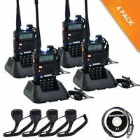 4X Baofeng UV-5R Walkie Talkie FM Radio & Lautsprechermikrofon Programmierkabel