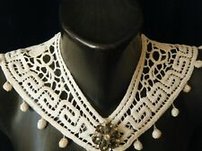 Vtg Edwardian branscombe heavy lace Collar sailor design w ball decor arownd