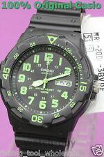 MRW-200H-3B Green Casio Watch 100M Date Day Display Black White Analog Resin New
