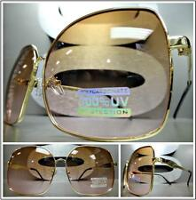 New OVERSIZE VINTAGE RETRO Style SUN GLASSES Square Gold Frame Brown & Pink Lens