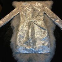 Line And Dot Silver White Stunning Dress Size Small Nice!