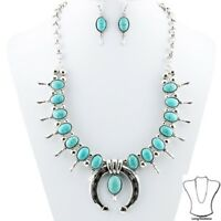 Turquoise Blue Squash Blossom Necklace Western Chic Cowgirl Gypsy Native Rodeo