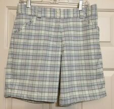 Women's Nike Golf size 10 white green blue plaid FITDRY shorts