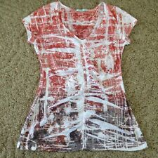 Women's Maurices top size Small red gray tie dye V-neck short sleeves