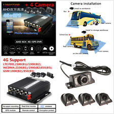 Car 8V-33V 4CH AHD Realtime DVR 4G Wireless GPS/SD/G-Sensor+4 Waterproof Cameras