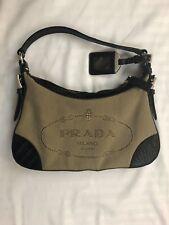 Auth PRADA Logo Jacquard Beige DarkBrown Jacquard & Black Leather Shoulder Bag