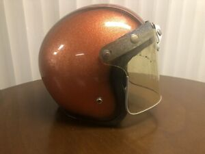 Vintage Orange and Black Metal Flake Helmet with Buco face shield size L