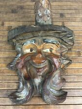 Vintage Carved Wood Face Old Man With Beard Hanging Folk Art