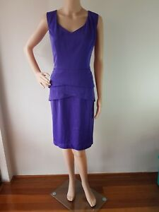 NWT REVIEW Ladies Dynasty Purple Knee Lined Length Dress Size: 14 RR: $289.99
