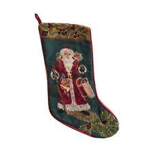 Christmas Stocking Needlepoint Petit Point Hand Stitch Wool Victorian Santa Vtg
