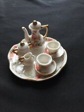 Tea Set 10 Piece Miniature Toy Doll House VTG Porcelain China Hand Painted USA