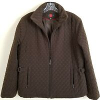 Gallery Quilted Jacket Womens XL Brown Zip Front Lined Polyester Filler