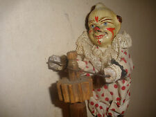 RARE ANTIQUE 19thc CLOWN SPINNING ON POLE PAPER MACHE & WOOD TOY