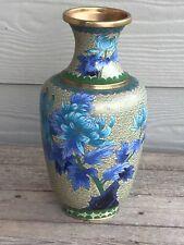 """Vintage lovely 10"""" Asian Cloisonne Vase, Beige background Blue floral design"""