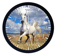 Beautiful White Horse Black Frame Wall Clock Nice For Gifts or Decor W47