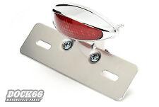 Cromo rojo LED luz trasera para Harley + Chopper, Taillight Chrome, red lens