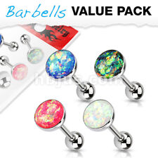 4 Colors Opal Glitter Balls Surgical Steel Barbells Tongue Rings Pack