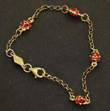 Borgogni 18K gold Red/Black enamel ladybug baby bracelet