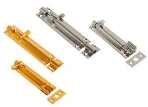 Barrel Bolt Door Locks Brass or Chrome Straight Cranked Necked Door Bolts