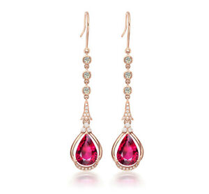 4.40Ct Pear Brilliant Cut Red Ruby Drop & Dangle Earrings 14K Rose Gold Finish