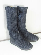 UGG AUSTRALIA 1876 Gray Shimmer Sweater 3 Button Womens Winter Boots Size 5.5