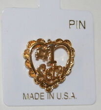 Vintage 1980's # 1 Sister Brass Mothers Day Birthday Gift Lapel Hat Pin New Nos