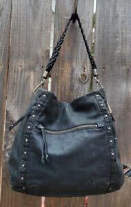 The Sak Ash Black Leather Hobo Shoulder Bag with Stud/Embroidered detailing
