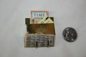 Miniature Dollhouse Vtg T&E Bronawell Brass Mailbox Newspaper Magazine & Mail
