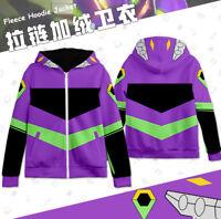 Anime NEON GENESIS EVANGELION EVA Unisex Hoodie Jacket Thicken Zipper Coat