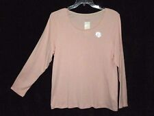 NWT Charter Club 1X Pale Pink Cotton Knit Top Long Slvs Tee Shirt NEW Cat Rescue