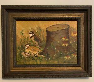 "Peti Clements Folk Artist AL Bob White Birds Stump & Flowers Painting 26""x21"""