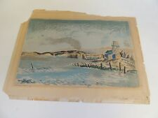 Vtg 1941 Ernest Hopf Screenprint San Rafael Ferry WPA Listed Artist California