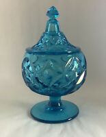 "Beautiful Vtg.,Turquoise Depression Glass Footed Covered Candy Dish - 8 3/4""Tall"
