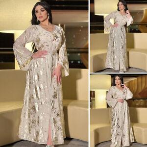 Muslim Women Long Sleeve Maxi Dress Kaftan Jilbab Belt Arab Robe Turkish Gown