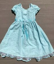Dress Blue embroidered girl size 6  sleeveless GREAT CONDITION
