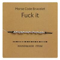 Morse Code Secret Hidden Message Fu*k it Friendship Couple Bracelet Gift Present