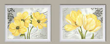 NEW Set of 2 White Framed Posters Wall Art Beautiful Yellow Flowers Grey 14x11""