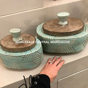 TWO RUTH AZTEC EMBOSSED AGED CERAMIC DECORATIVE BOXES REMOVABLE LIDS UTTERMOST