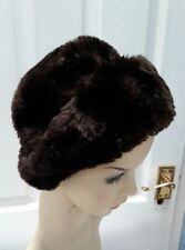 vintage 1940s 1950s dark browm faux fur ladies hat size S/53 cm