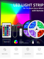 Flexible 5050 RGB LED SMD Strip Light Remote Fairy Lights Room TV Party Bar