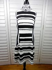 Kut From The Kloth Striped Dress Womens Size 10 Black White Stretch Casual