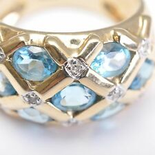 Topacio Azul Anillo de diamantes, 9 Quilates / 375er oro amarillo, 56,5, 5,4