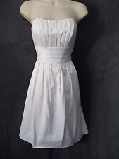 New DB Studio White Strapless Polished Cotton Pleat Detail Wedding Dress 4