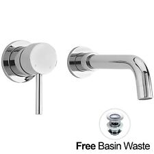 Sicily Wall Mounted Modern Sink Chrome Lever Basin Mixer Tap * Waste Inc*