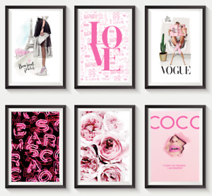 Set of 6 Fashion Vogue Designer Wall Art Bedroom Print Home Posters Deco Gift S4