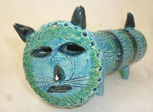 VINTAGE MID CENTURY BLUE BITOSSI CAT - ALDO LONDI -  ITALY - 18cm long